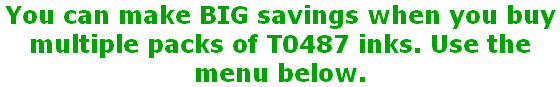 You can make BIG savings when you buy  multiple packs of T0487 inks. Use the menu below.